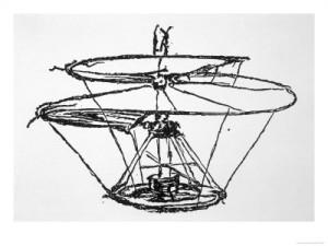 Leonardo da Vinci´s Zeichnung eines Flugobjektes